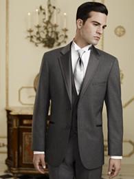 Wholesale Black Pinstripe Dress Pants - Custom Made Two Buttons Charcoal Grey Groom Tuxedos Notch Lapel Man Blazer Groomsmen Dress Suits (Jacket+Pants+Vest+Tie) OK:1
