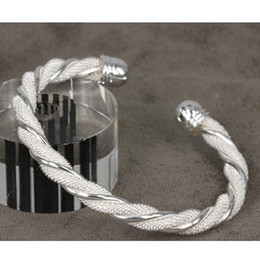 Wholesale 925 Mesh Bangle - Free Shipping hot sale 925 Sterling Silver fashion jewelry Spiral mesh bangle bracelet B20