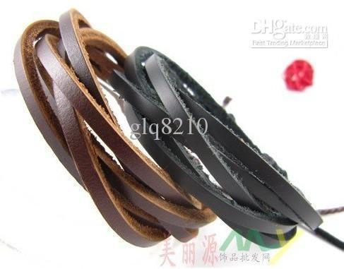 Äkta handgjorda läder Briached Armband Justerbar Kaffe Brun Xmas Gåva Ny Ankomst Män Kvinnor Gratis frakt 12st /