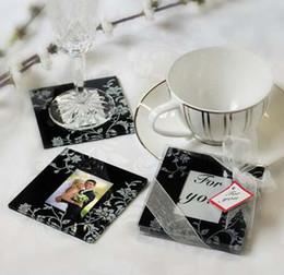 $enCountryForm.capitalKeyWord Canada - Free Shipping!30pcs lot,Black &White Timeless Traditions Elegant Glass Photo Coaster wedding favors