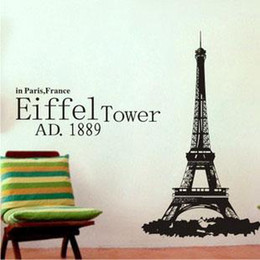 Wholesale Paris Eiffel Tower Decor Removable Vinyl Wall Decals Decoration Stickers Art Mural B 03 In Bulk