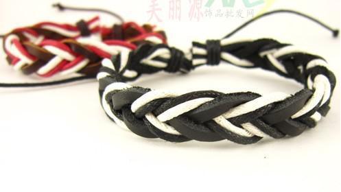 Stilvolle handgemachte Hanf-Leder umsponnene Armbänder justierbare nagelneue bunte Weihnachtsgeschenke Mischungs-Auftrag /