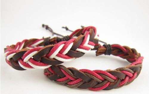 Стильный ручной конопли кожаный плетеный браслеты регулируемый новый красочные рождественские подарки 36 шт. / лот