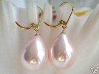 Wholesale Southsea Pearls Earrings - Charming 14k GP14mm big southsea Pair Beautiful pink Shell Pearl Drop Earrings