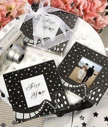 Wholesale Glass Wedding Favours - Free Shipping! 30pcs=15sets lot,Wedding favors,Movie Themed Photo Holder Glass Coasters, party favours, wedding giftsFreef