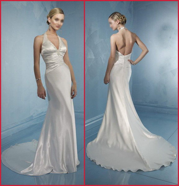 elegant halter backless v neck ivory satin vintage wedding dresses designer beads train bridal gowns