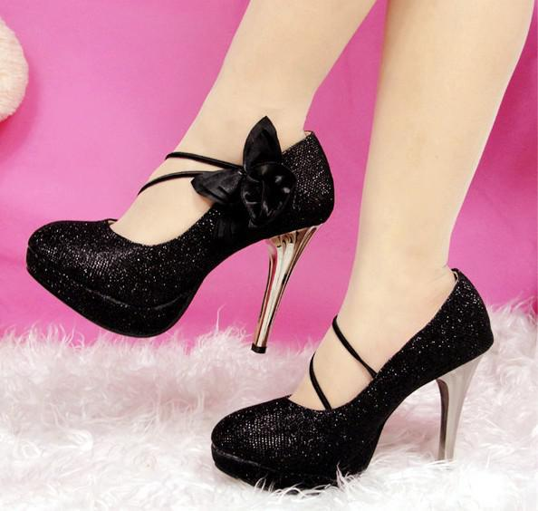 Hot Sell ! Black Flowers Women's Shoes Dull Polish High Heel Shoes ...