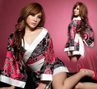 schwarze kimono blumen großhandel-schwarze Blume Sexy Japan Kimono Frauen Uniform Versuchung weibliche Rollenspiele Dessous mit Gürtel kostenloser Versand Spiel Bekleidung