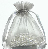 Wholesale Virgin Paper Bag - 200 Pcs Silver Organza Gift Bag Bags Pouchs Wedding Favor 9 X 12cm ( 3.5 inch x 4.7 inch )