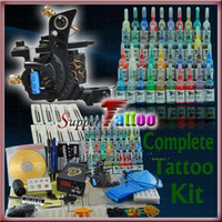 Wholesale tattoo starter guns - Tattoo Kit Supply Needles 40 Inks Machine Gun Set Beginner   Starter Tattoo Use