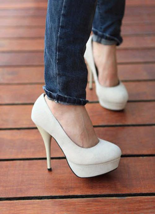 Sexy Women's Super High Heels 13cm Waterproof 3cm Suede Heels ...