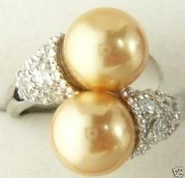 Wholesale South Sea Pearls Rings - Superb 18K GP Golden South Shell Sea Pearl Ring 7 8 9