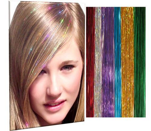 "top popular 25 Colors 24"" Feather BellaVia Tinsel Hair Extensions 3D Rainbow 1000 strands lot,Sparkling Shinny Hair for Party 2019"