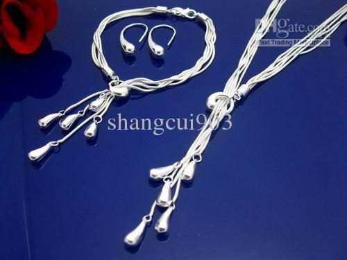 Высокое качество 925 серебро 10 мм бусины мяч браслет ожерелье комплект ювелирных изделий ювелирные изделия 20+8 дюймов