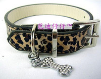 Wholesale Leather Leopard Large Dog Collar - 20pcs lot Leopard Dog Collar,Leather dog collar,dog supplies