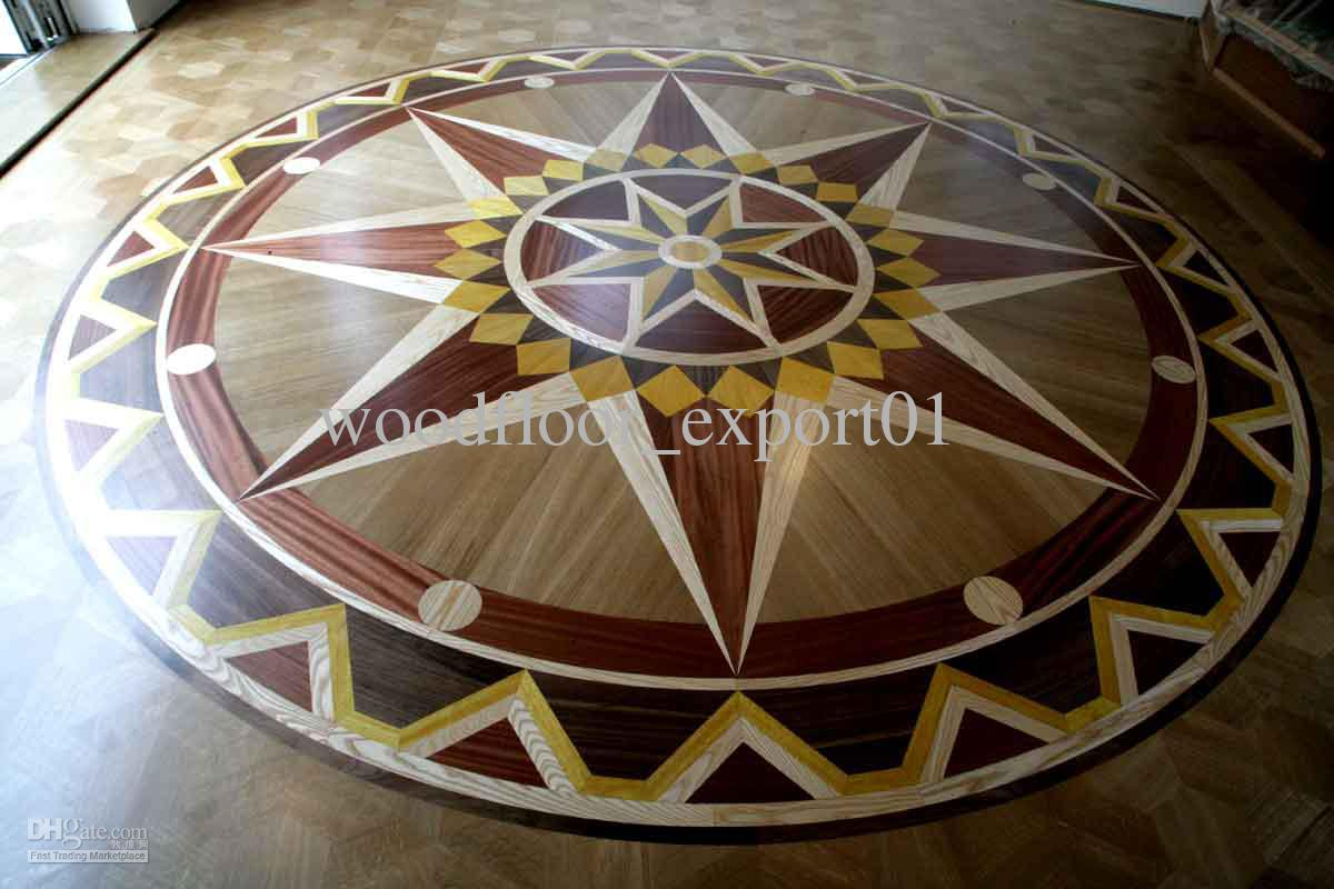 Parquet Floor Medallion Stained Color Profiled Wood