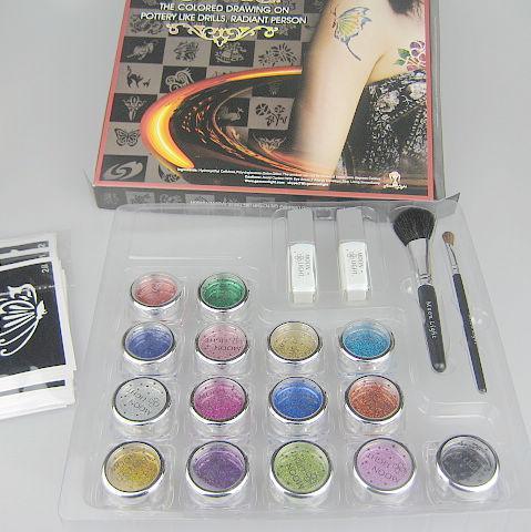 Pro Ciało Malarstwo Tatuaż Zestaw Deluxe 1 Zestaw 15 Kolory Zestaw zasilający Body Art Tattoo Kit Balk15