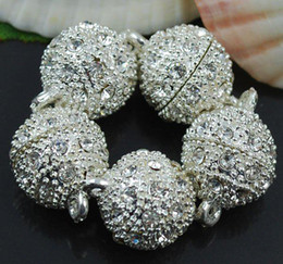 Wholesale Magnetic Balls Clasp - Free Shipping 10MM Crystal Magnetic Round Ball Silver Plated Clasps Jewelry Findings