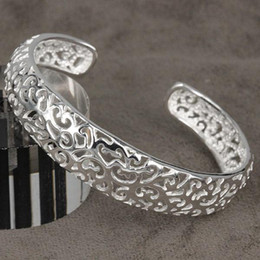 Wholesale wholesale sterling silver bangles - Beautiful Free Shipping hot 925 Sterling Silver plated fashion jewelry charm hollow bangle bracelet B144