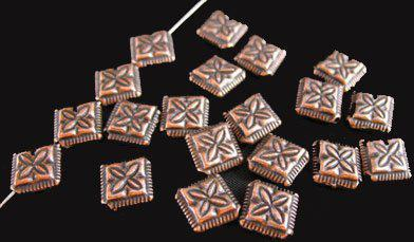 180pcs Antiqued copper plt cross diamond spacer beads A59C