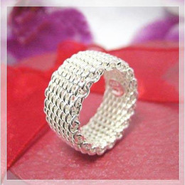 Wholesale P Charms - Free P&P best price 925 Sterling Silver fashion jewelry mesh charms ring 10pcs lot hot sale R40