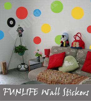 Funlife Of Dots Ebay Uk Hot Colourful Dots Circles Vinyl Wall - Spiderman wall decals uk