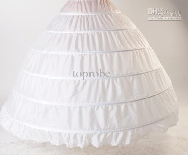 Bridal Wedding Gown Petticoat Crinoline Slip 6 Hoop White Evening