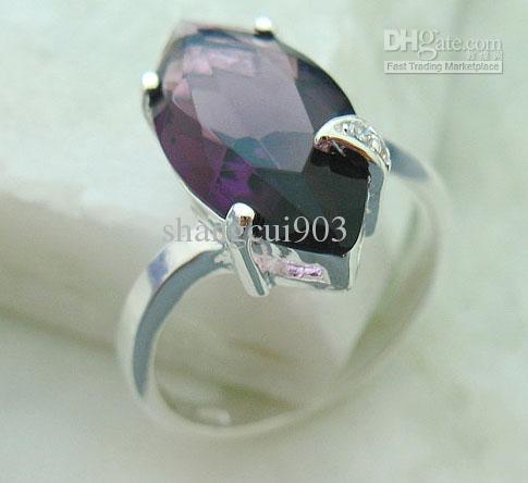 Bijoux de pierre gemme de luxe Bagues en argent améthyste 925 Bagues rondes Taille 8 pierres précieuses