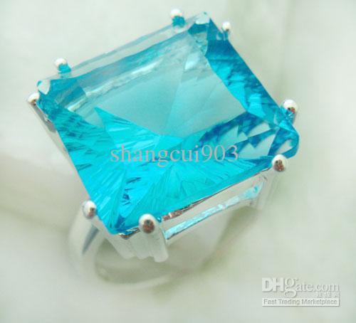 Аутентичные драгоценные камни 925 Серебро Капля воды Синий Сапфир Кольца подходят Довольно коробка изысканный