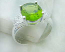 unique luxury gifts 2019 - Luxury Unique design genuine 925 Silver Peridot Rings size 8 brand new cheap unique luxury gifts