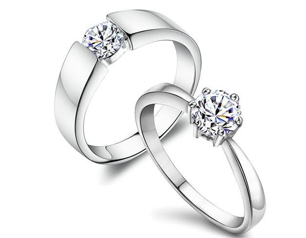 2014 anillo femenino anillo de plata de ley 925 anillo de diamantes par anillos anillo de bodas regalos de Navidad N2