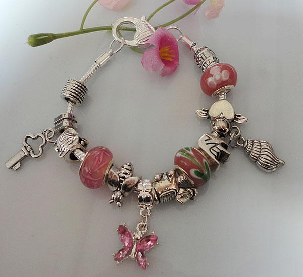 Wholesale mix colors 925 Silver colorful glass beads Beautiful butterfly charm pendants bracelets