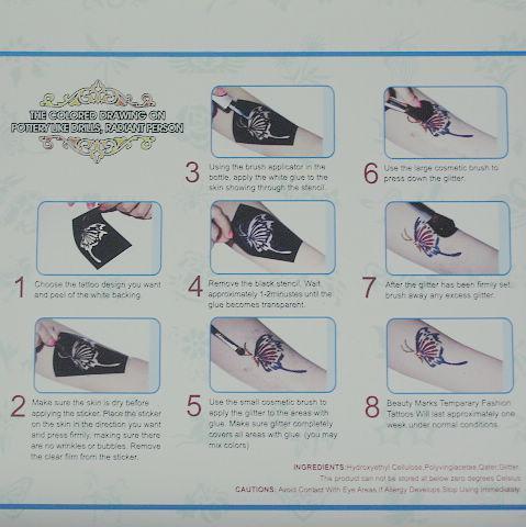 Pro Body Målning Tattoo Deluxe Kit 4 Färgförsörjningssats Glitter Tattoo Kit Diamond Panting Kit Balk4