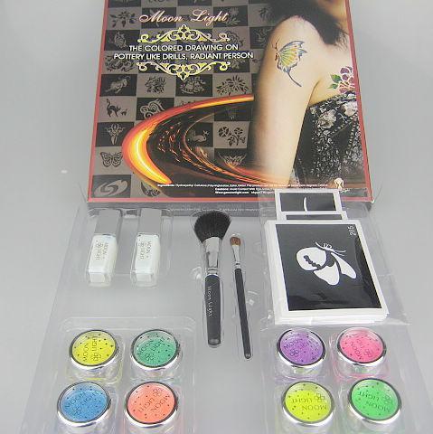 Malowanie ciała Tatuaż Zestaw Deluxe 8 Kolory Zestaw zasilający Glitter Zestaw Tatuaż Fluorescencyjny Zestaw Dysze FBK8
