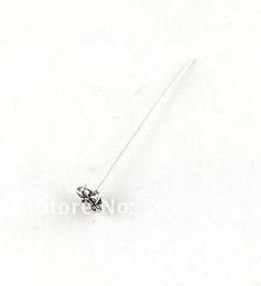 Wholesale Head Pins Tibetan Silver - 150PCS Tibetan Silver Copper Flower Head Pin 54mm A13056