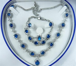 Wholesale Cheap Peacock Wedding Jewelry - Wholesale cheap Sapphire Zircon Crystal Necklace Bracelet Earrings Ring   Jewelry Sets