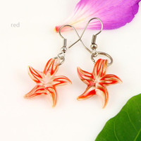 Wholesale Cheap Starfish Earrings - Starfish murano lampwork blown venetian glass dangle earrings jewelry jewellery Mue007 cheap fashion jewellery