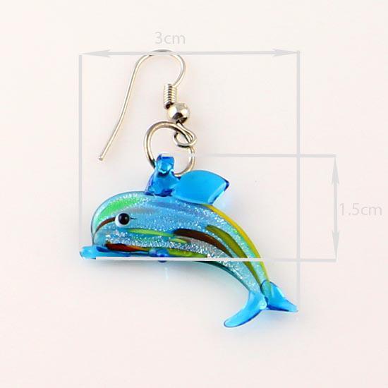 Dolphin sliver foil glitter lampwork soplado cristal veneciano collares colgantes y pendientes conjuntos Mus001 joyas de moda barata