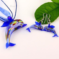 Wholesale Dolphin Necklace Mix - dolphin sliver foil glitter lampwork blown venetian glass necklaces pendants and earrings sets Mus001 cheap fashion jewellery