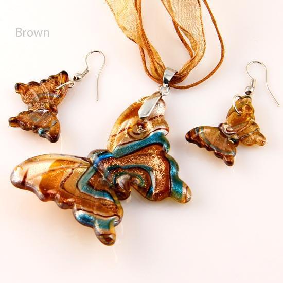 Butterfly foil murano lampwork blown venetian glass necklaces pendants and earrings jewellery sets Mus002 cheap fashion jewelry
