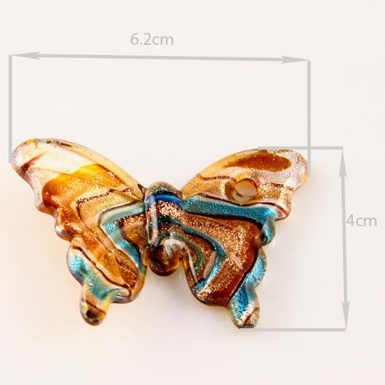 Butterfly Folie Murano Lampwork Blown Venetian Glas Halsband Hängsmycken och Örhängen Smycken Ställer upp Mus002 Billiga Mode Smycken