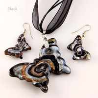 Wholesale Lampwork Glass Butterfly Necklace - Butterfly sliver foil glitter lampwork blown venetian glass necklaces pendants and earrings sets Mus002 murano handmade glass