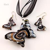 Wholesale Butterfly Murano Glass Pendants - Butterfly sliver foil glitter lampwork blown venetian glass necklaces pendants and earrings sets Mus002 murano handmade glass