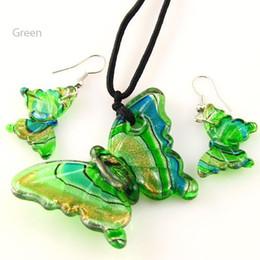 Wholesale butterflies jewellery - Butterfly foil murano lampwork blown venetian glass necklaces pendants and earrings jewellery sets Mus002 cheap fashion jewelry
