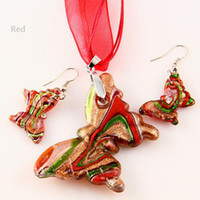 Wholesale lampwork earring china resale online - Butterfly sliver foil glitter lampwork pendant venetian murano glass pendants necklaces and earrings Mus002 Cheap china jewelry fashion