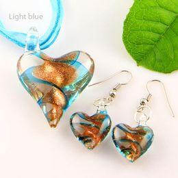 Wholesale Cheap Murano Glass Earrings - Scroll heart glitter lampwork pendant venetian murano glass pendants necklaces and earrings jewelry Mus003 cheap fashion jewelry
