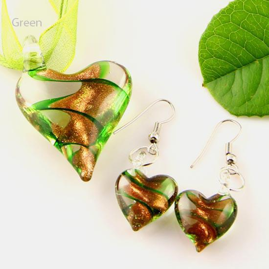 top popular Scroll heart glitter lampwork pendant venetian murano glass pendants necklaces and earrings sets cheap china fashion jewelry Mus003 2021