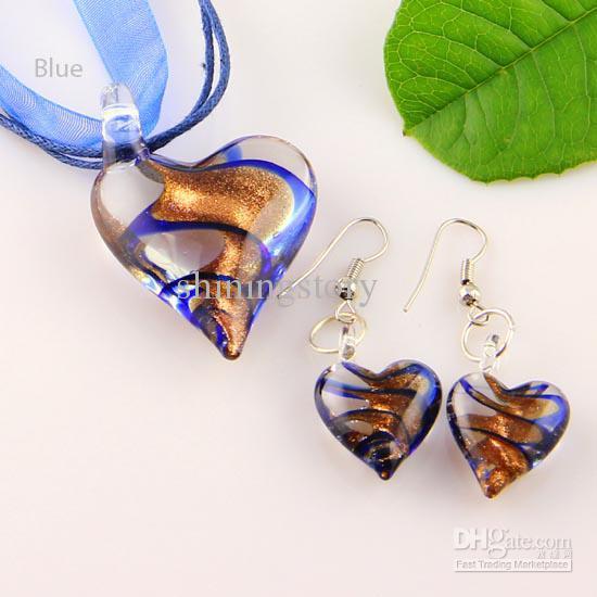 desplácese corazón brillo murano soplado cristal veneciano collares colgantes y pendientes joyas conjuntos Mus003 joyería de moda a granel