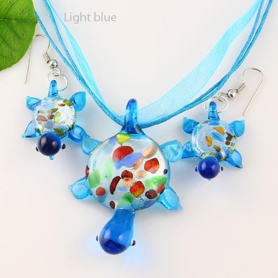 Kaplumbağa şerit folyo lampwork kolye venedik murano cam el yapımı İtalya kolye kolye ve küpe yüksek moda takı Mus004