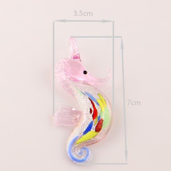 Seahorse Sliver Foil Murano Lampwork Pendentif en verre vénitien pendentifs colliers et boucles d'oreilles ensembles Mus006 bijoux faits main